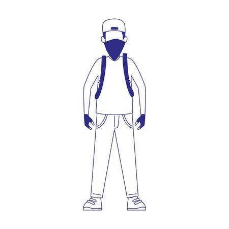 cartoon man standing with kerchief icon over white background, flat design, vector illustration Illusztráció
