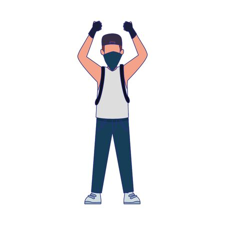 Cartoon vandal man standing using gloves and kerchief over white background, colorful design, vector illustration