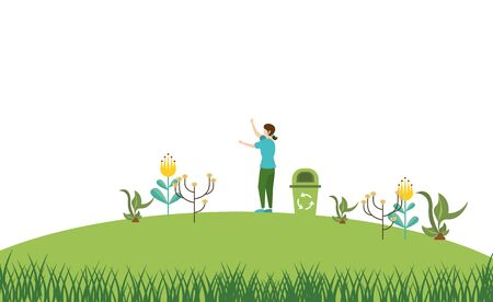 woman with waste bin recycle in the camp vector illustration design Illustration
