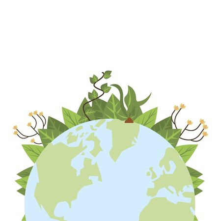 world planet earth with leafs plant vector illustration design Ilustrace