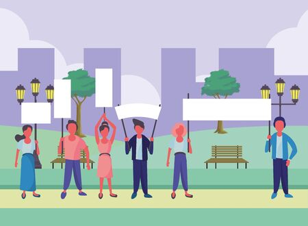 activists people with protest banners vector illustration design Vectores