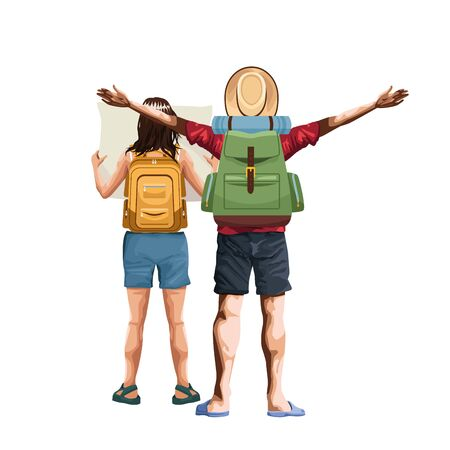 man back with camping backpack and woman back with map and backpack icon over white background, vector illustration