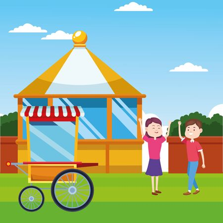 popcorn cart and happy couple over landscape background, colorful design, vector illustration Illustration