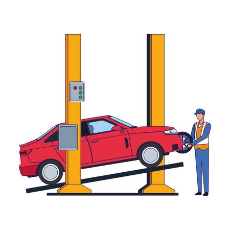 lifted car and mechanic fixing a tire over white background, colorful design, vector illustration