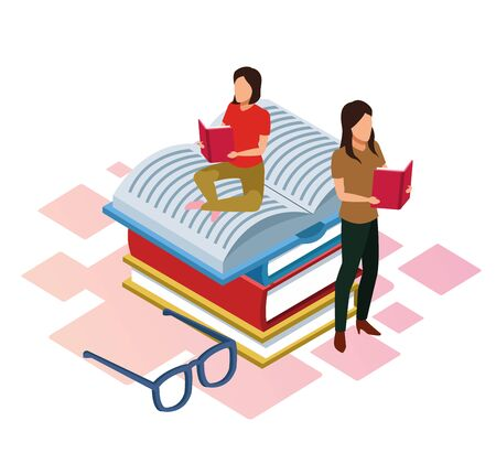 cartoon women reading books sitting on books with glasses around over white background, isometric and colorful design, vector illustration