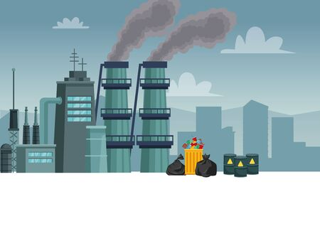 chimeny factory polluting with garbage and barrels vector illustration design