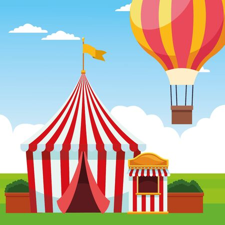 fair tent and hot air balloon over landscape background, colorful design, vector illustration