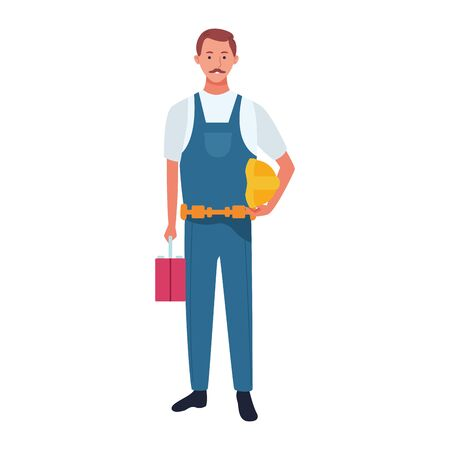 repair man worker icon over white background, vector illustration Stock Illustratie