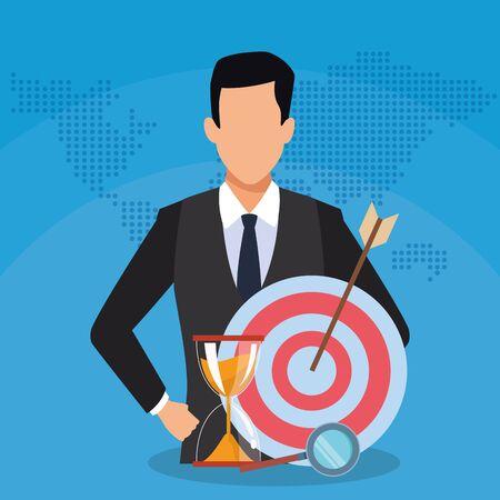 businessman target hourglass magnifier success start up business vector illustration