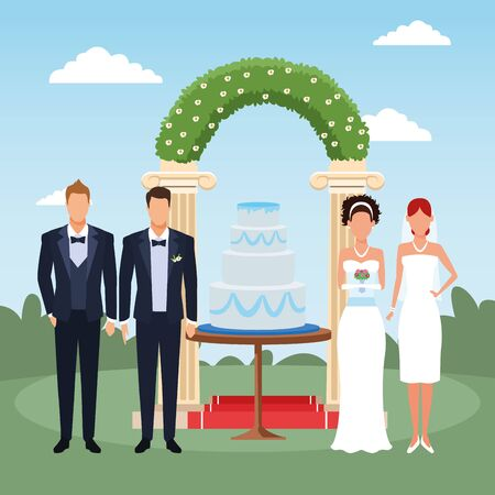 Wedding scenery with just married couple and groomsmen standing around the weeding cake and floral arch, colorful design, vector illustration Illustration