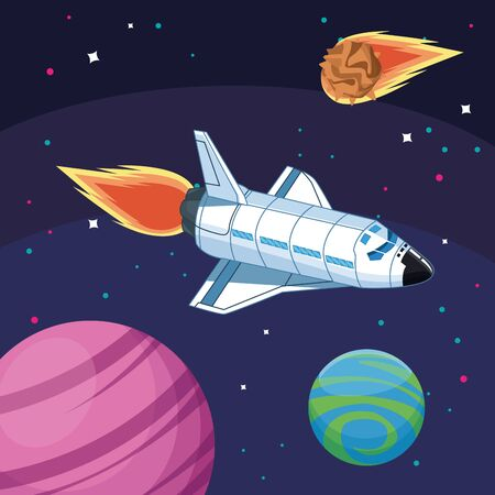 spacecraft planets and asteroid space exploration vector illustration Ilustrace