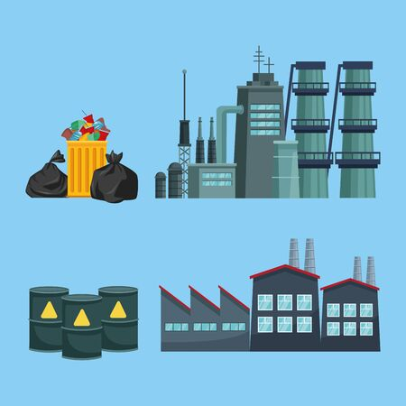 chimeny and factory polluting with garbage and barrels vector illustration design