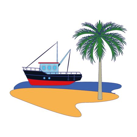 fishing boat at the sea with palms over white background, vector illustration