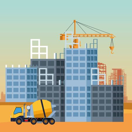 concrete mixer truck over under construction scenery background, colorful design, vector illustration Illusztráció