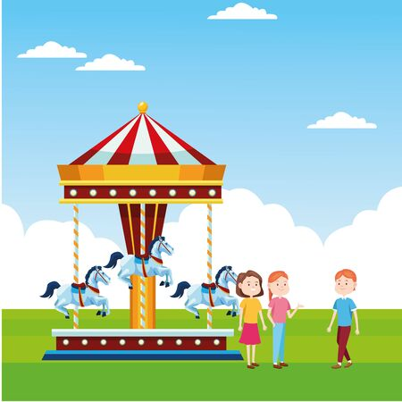 happy people and horses carousel over landscape background, colorful design, vector illustration Illustration