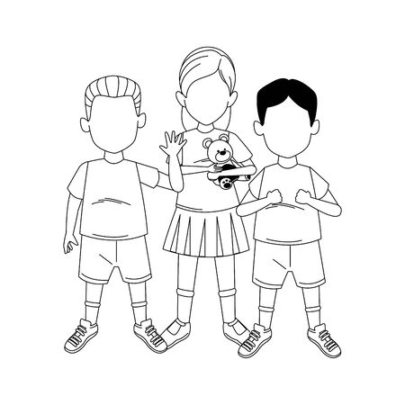 little boys and girl standing icon over white background, vector illustration
