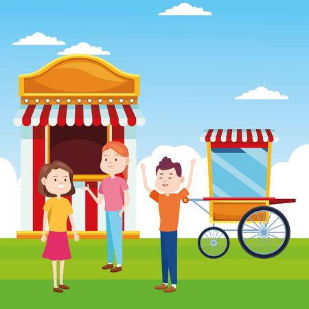 cartoon girls and boy at ticket booth and popcorn cart over landscape background, colorful design, vector illustration