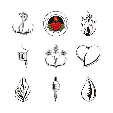 Ensemble d'icônes d'images de tatouages design d'illustration vectorielle Vecteurs