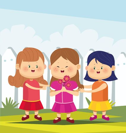 cute and happy girls standing wearing beautiful dresses over white fence background, colorful design, vector illustration