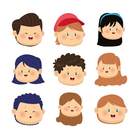 icon set of happy kids faces over white background, colorful design, vector illustration