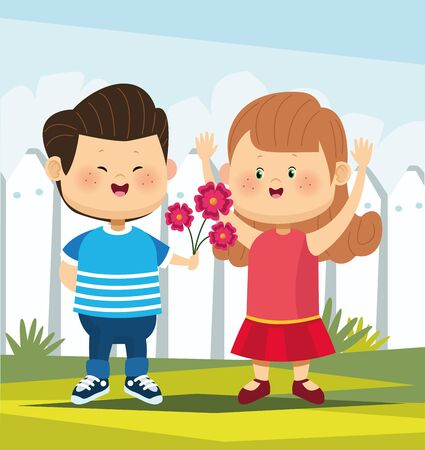 cute boy in love giving flowers a girl over white fence background, colorful design, vector illustration