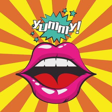 poster pop art style with female mouth vector illustration design