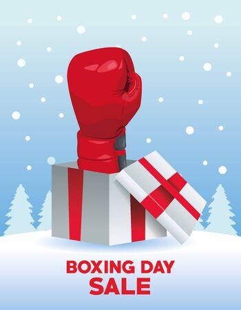 boxing day sale poster with glove in gift vector illustration design Ilustracja