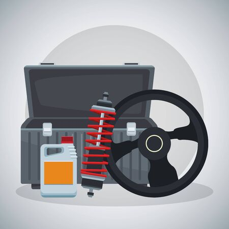 empty tools box with steering wheel, shock absorber and oil bottle over gray background, colorful design, vector illustration Stock Illustratie