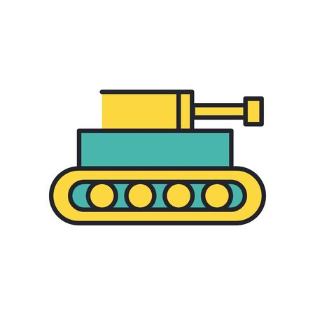 tank military force line and fill style icon vector illustration design Illusztráció