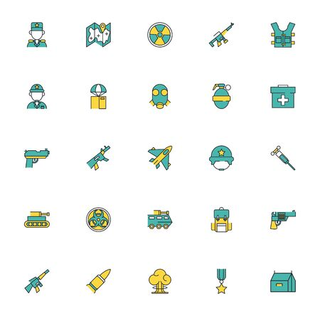bundle of military set icons vector illustration design