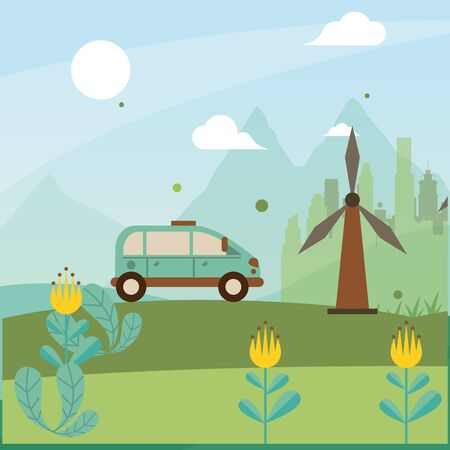 wind power turbine with car vehicle vector illustration design