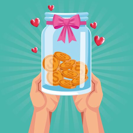 hands with glass bottle with coins and pink bow over turquoise background, colorful design, vector illustration