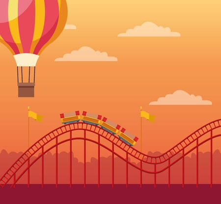 hot air balloon and roller coaster over orange sunset background, colorful design, vector illustration