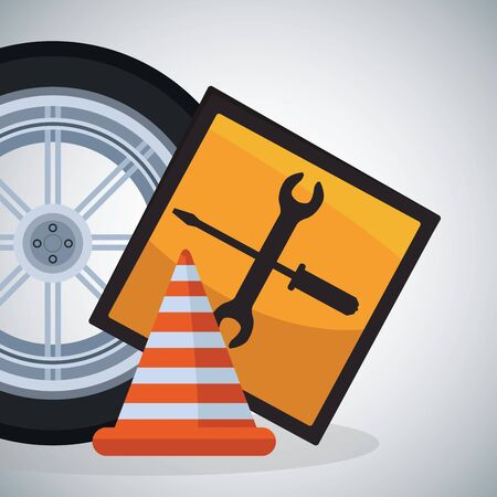 car tire with repair tools sign and traffic cone over gray background, colorful design, vector illustration