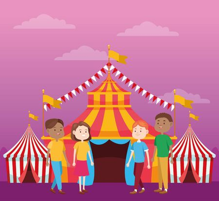 Happy people in the fair over tents and purple background, colorful design, vector illustration