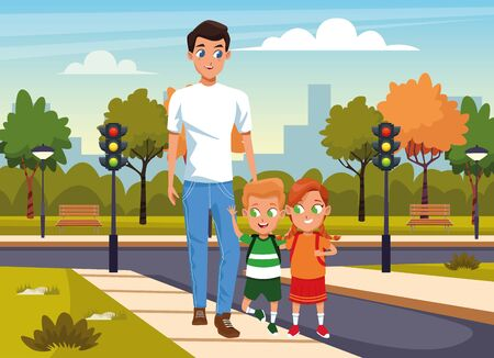 happy man with kids walking in the street over park background, colorful design, vector illustration