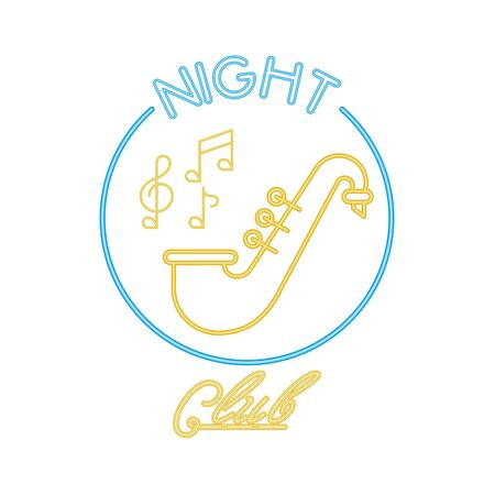 saxophone musical instrument with club lettering vector illustration design Ilustração
