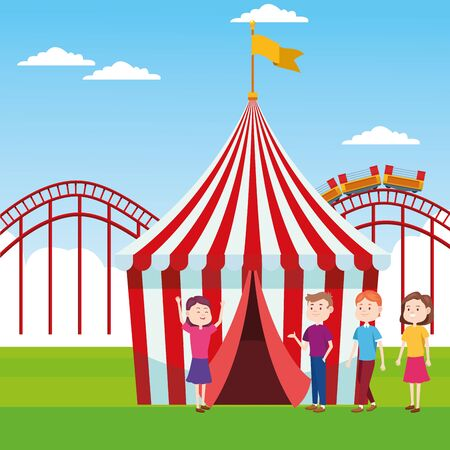 fair tent and people standing over roller coaster and landscape background, colorful design, vector illustration