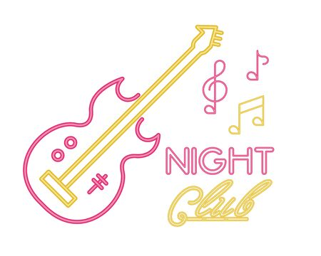 electric guitar with night club lettering vector illustration design Ilustração