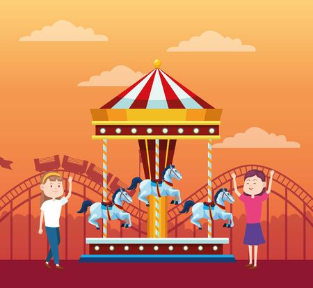 happy girls in the fair next to carousel over orange sunset background, colorful design, vector illustration Illustration