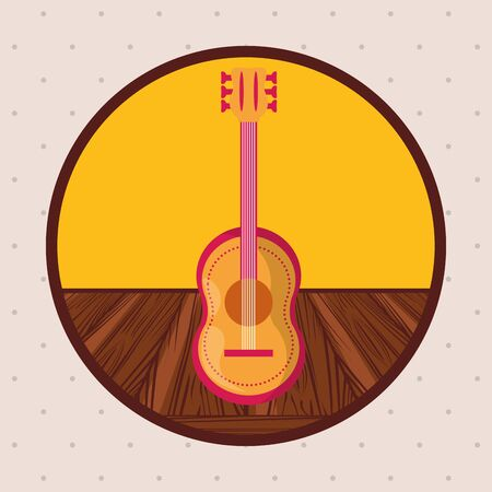guitar musical instrument in wooden table vector illustration design