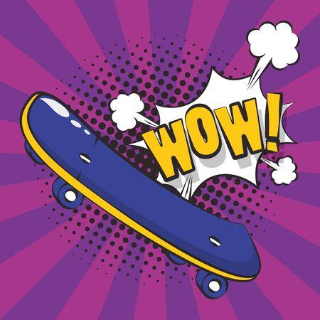 poster pop art style with skateboard vector illustration design