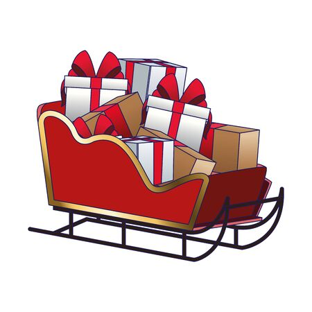 sled with gift boxes over white background, vector illustration