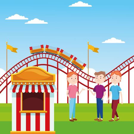 ticket booth and happy people standing over roller coaster and landscape background, colorful design, vector illustration 向量圖像