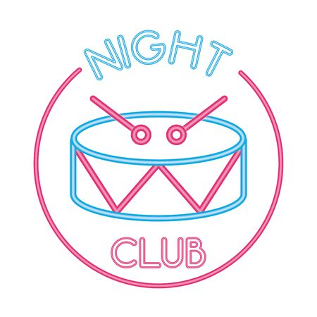 drum musical with night club lettering vector illustration design