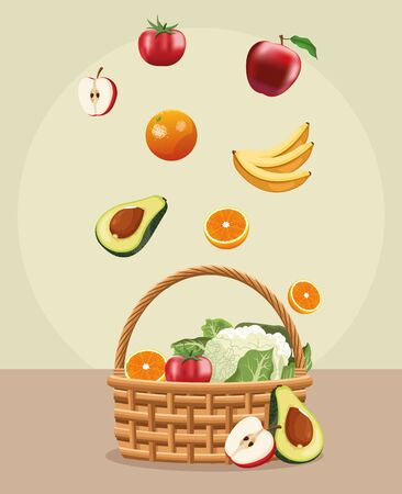 falling fruits in the basket with vegetables farming vector illustration