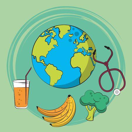healthy life style set icons vector illustration design Ilustracja