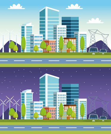 buildings and solar panels cityscape scenes vector illustration design