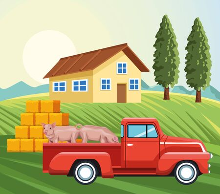 farming pickup with pigs house hay bales grass trees vector illustration