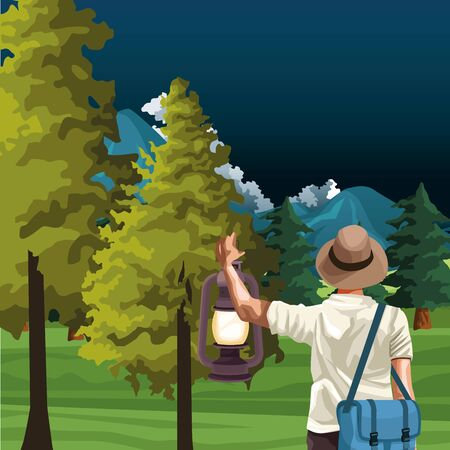 beautiful landscape with trees and mountains with traveler man with hat and bag, colorful design, vector illustration
